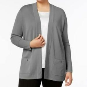 Anne Klein Sweater Cardigan Gray Sz 0X Plus